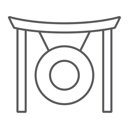 Gong thin line icon, asia and music, musical instrument sign, vector graphics, a linear pattern on a white background.