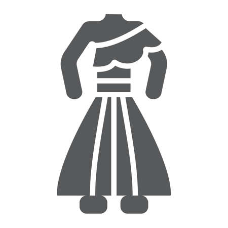 Thai dress glyph icon, clothes and thailand, traditional costume sign, vector graphics, a solid pattern on a white background.