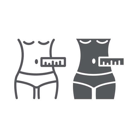 Waist measurement line and glyph icon, tailor and measure, female body measuring sign, vector graphics, a linear pattern on a white background.
