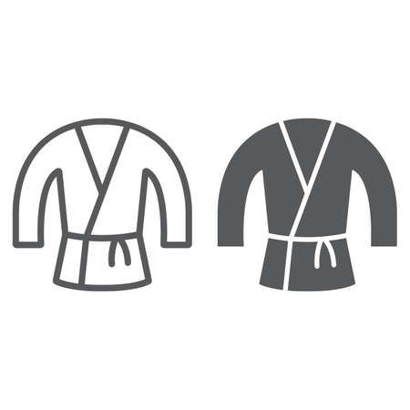 Japanese kimono line and glyph icon, asian and clothes, japan costume sign, vector graphics, a linear pattern on a white background.