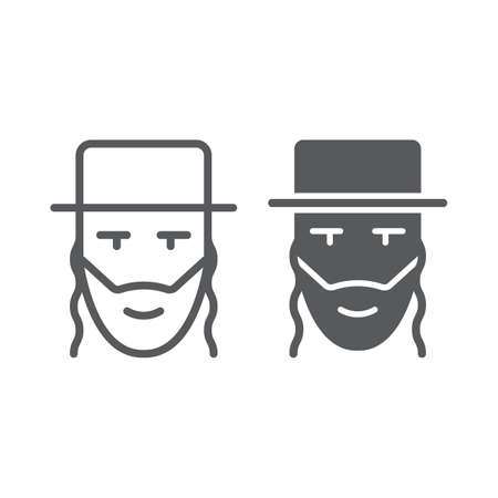 Rabbi line and glyph icon, israel and person, jewish man sign, vector graphics, a linear pattern on a white background. Vectores