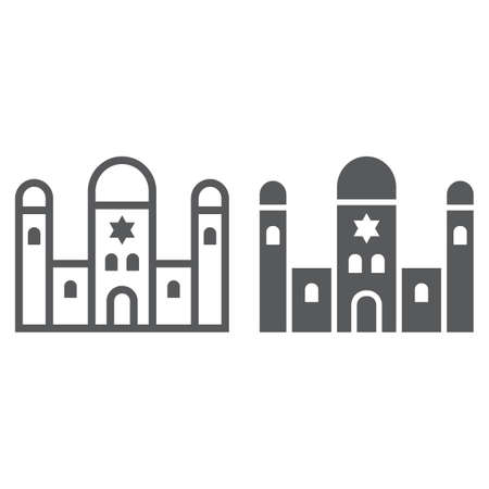 Synagogue line and glyph icon, religion and architecture, jewish church sign, vector graphics, a linear pattern on a white background.