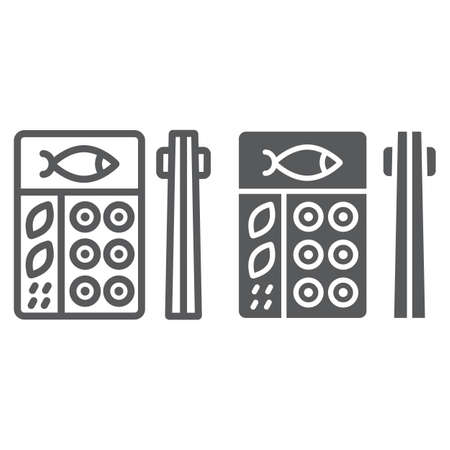 Bento line and glyph icon, asian and food, japanese lunch box sign, vector graphics, a linear pattern on a white background.
