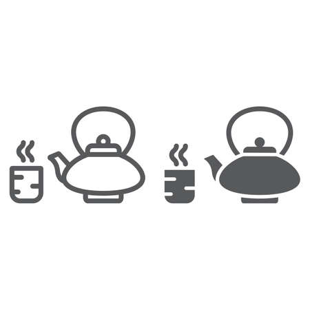 Japanese tea line and glyph icon, asian and drink, kettle and cup sign, vector graphics, a linear pattern on a white background.