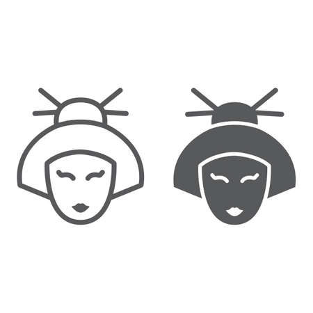 Geisha line and glyph icon, japan and girl, japanese woman sign, vector graphics, a linear pattern on a white background.