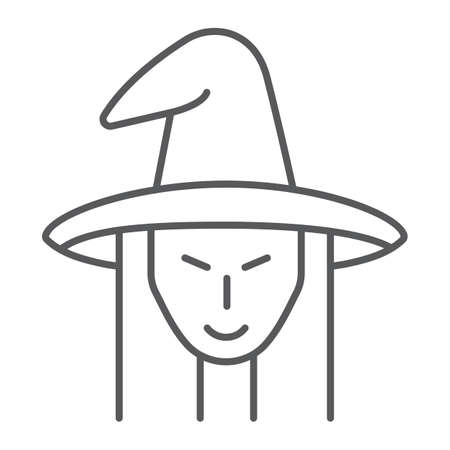 Witch thin line icon, witchcraft and halloween, witch face sign, vector graphics, a linear pattern on a white background.