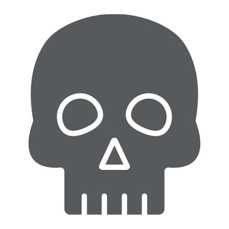 Skull glyph icon, halloween and horror, bones sign, vector graphics, a solid pattern on a white background.