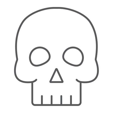 Skull thin line icon, halloween and horror, bones sign, vector graphics, a linear pattern on a white background. Illustration