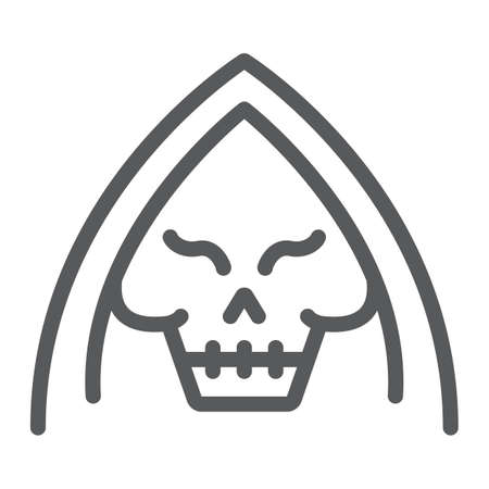 Death line icon, halloween and horror, reaper sign, vector graphics, a linear pattern on a white background.