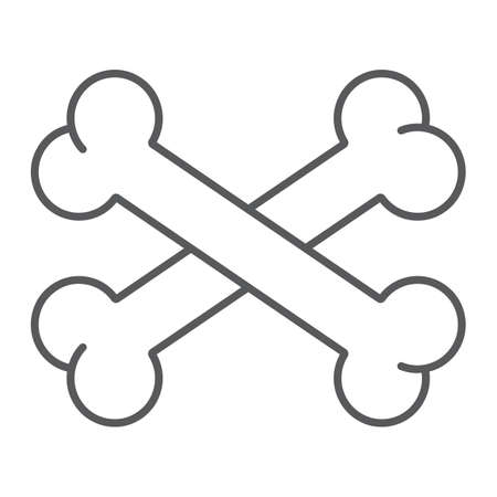 Cross bone thin line icon, halloween and danger, crossed bones sign, vector graphics, a linear pattern on a white background. Standard-Bild - 128744813