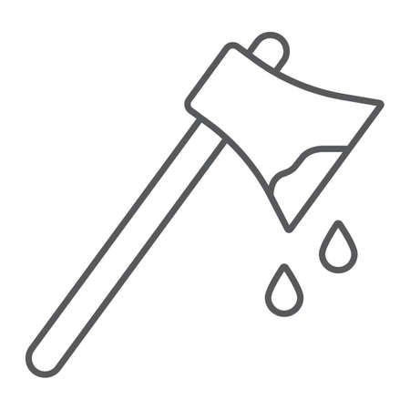 Bloody axe thin line icon, halloween and blade, ax with blood sign, vector graphics, a linear pattern on a white background. Standard-Bild - 128744828