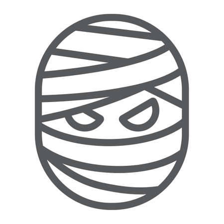 Mummy line icon, halloween and creepy, monster sign, vector graphics, a linear pattern on a white background. Standard-Bild - 128744845