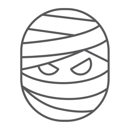 Mummy thin line icon, halloween and creepy, monster sign, vector graphics, a linear pattern on a white background. Standard-Bild - 128744841