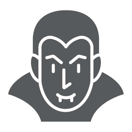 Dracula glyph icon, halloween and evil, vampire sign, vector graphics, a solid pattern on a white background.