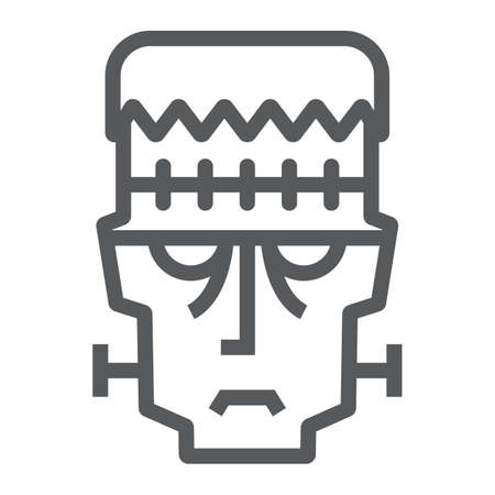 Frankenstein line icon, halloween and monster, zombie sign, vector graphics, a linear pattern on a white background. 写真素材 - 128744854