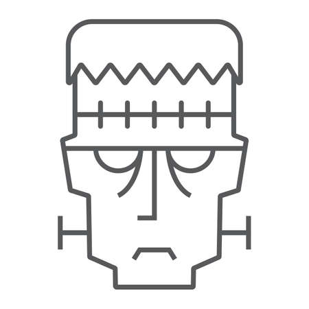 Frankenstein thin line icon, halloween and monster, zombie sign, vector graphics, a linear pattern on a white background. 写真素材 - 128744863