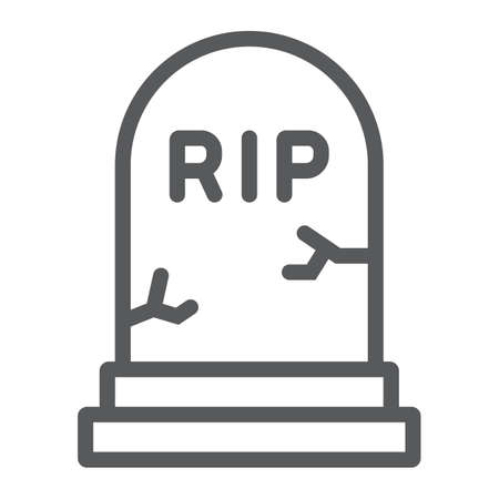 Grave line icon, gravestone and funeral, tombstone sign, vector graphics, a linear pattern on a white background.  イラスト・ベクター素材