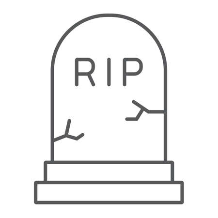Grave thin line icon, gravestone and funeral, tombstone sign, vector graphics, a linear pattern on a white background.
