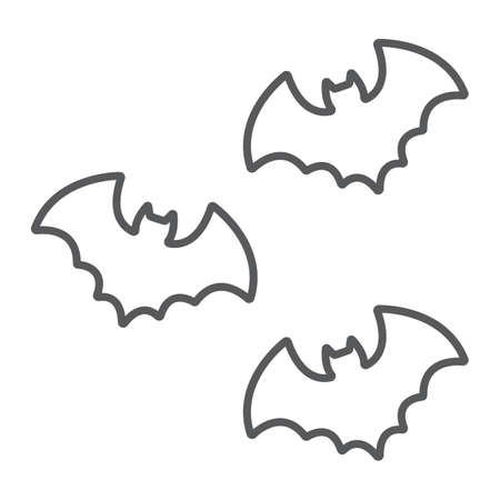 Bats thin line icon, spooky and animal, vampire sign, vector graphics, a linear pattern on a white background. Standard-Bild - 128744946