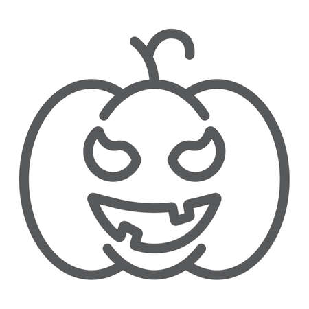Pumpkin line icon, gourd and autumn, squash sign, vector graphics, a linear pattern on a white background. 写真素材 - 128744939