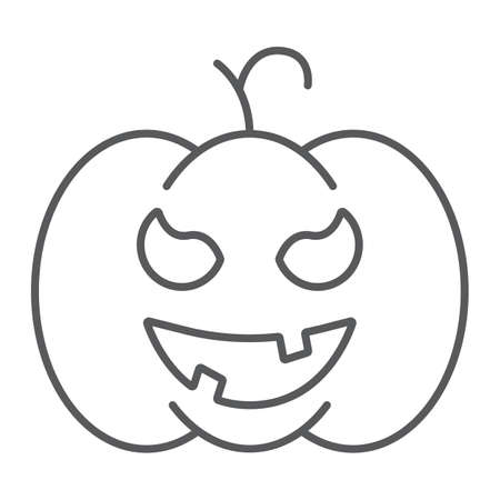 Pumpkin thin line icon, gourd and autumn, squash sign, vector graphics, a linear pattern on a white background. Standard-Bild - 128744954