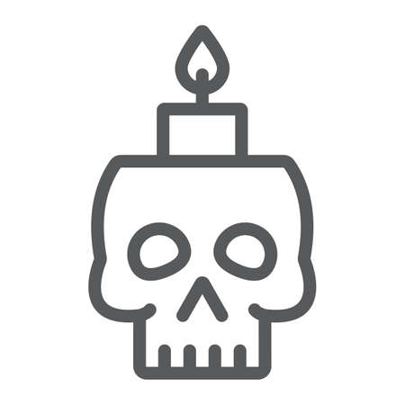 Skull with candle line icon, spooky and decor, halloween candle sign, vector graphics, a linear pattern on a white background. Standard-Bild - 128744957