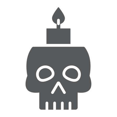 Skull with candle glyph icon, spooky and decor, halloween candle sign, vector graphics, a solid pattern on a white background. Standard-Bild - 128744963
