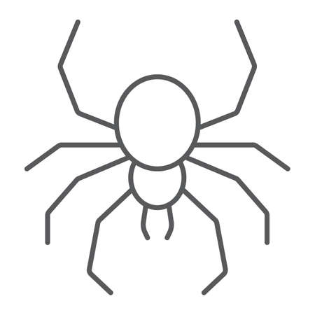 Spider thin line icon, spooky and animal, arachnid sign, vector graphics, a linear pattern on a white background.