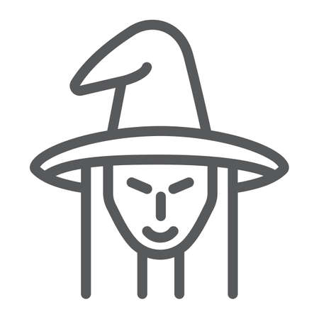 Witch line icon, witchcraft and halloween, witch face sign, vector graphics, a linear pattern on a white background. 写真素材 - 128744951