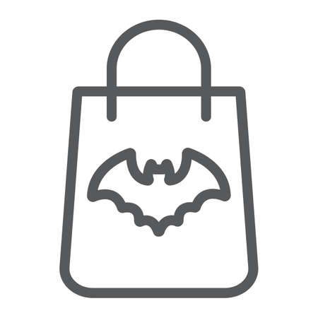 Halloween shopping bag line icon, halloween and shop, packet sign, vector graphics, a linear pattern on a white background. 写真素材 - 128744968