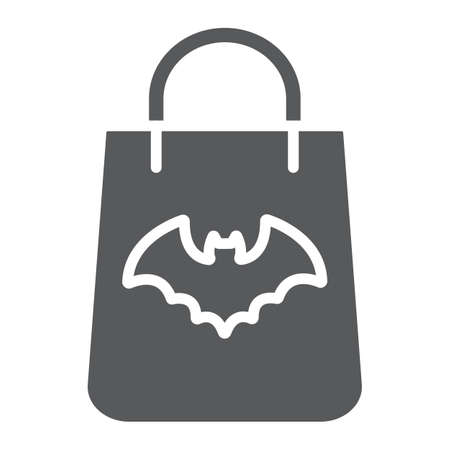 Halloween shopping bag glyph icon, halloween and shop, packet sign, vector graphics, a solid pattern on a white background. 写真素材 - 128744972