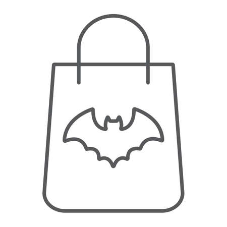 Halloween shopping bag thin line icon, halloween and shop, packet sign, vector graphics, a linear pattern on a white background.