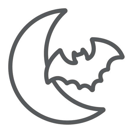 Bat and moon line icon, halloween and horror, night sign, vector graphics, a linear pattern on a white background.