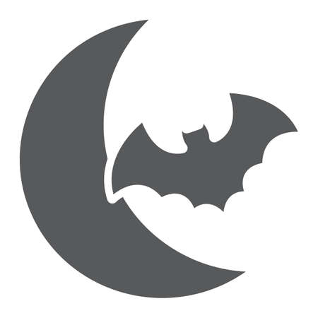 Bat and moon glyph icon, halloween and horror, night sign, vector graphics, a solid pattern on a white background.