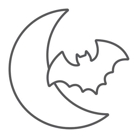 Bat and moon thin line icon, halloween and horror, night sign, vector graphics, a linear pattern on a white background.  イラスト・ベクター素材