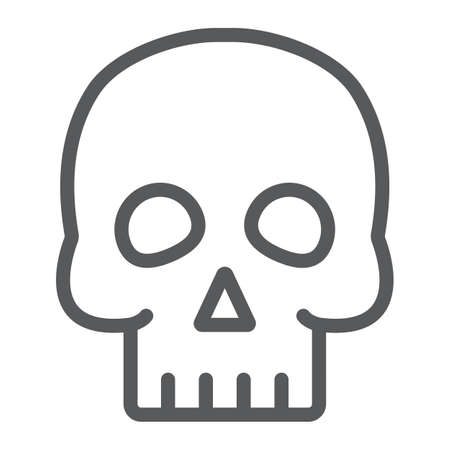 Skull line icon, halloween and horror, bones sign, vector graphics, a linear pattern on a white background. 写真素材 - 128744995