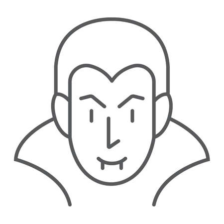 Dracula thin line icon, halloween and evil, vampire sign, vector graphics, a linear pattern on a white background.  イラスト・ベクター素材