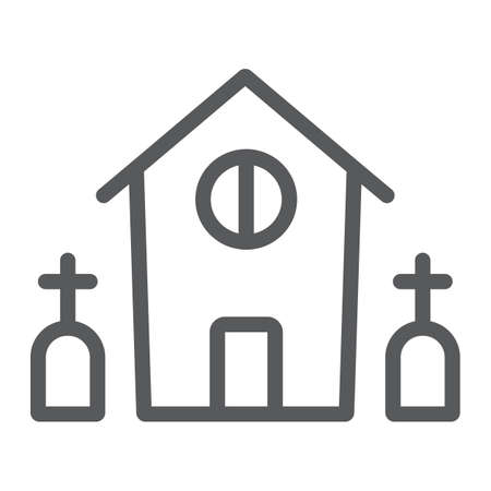 Horror house line icon, halloween and home, scary building sign, vector graphics, a linear pattern on a white background. Standard-Bild - 128744991