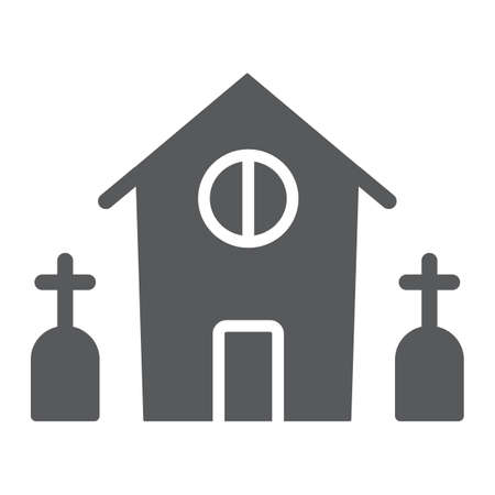 Horror house glyph icon, halloween and home, scary building sign, vector graphics, a solid pattern on a white background. Standard-Bild - 128744988