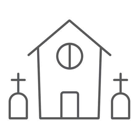 Horror house thin line icon, halloween and home, scary building sign, vector graphics, a linear pattern on a white background. Standard-Bild - 128745222