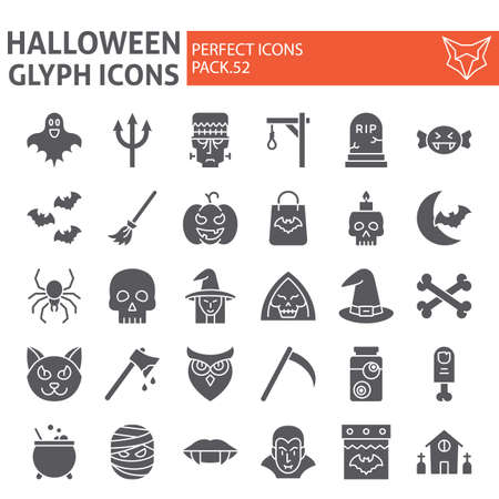 Halloween glyph icon set, horror symbols collection, vector sketches,  illustrations, creepy holiday signs solid pictograms package isolated on white background.  イラスト・ベクター素材