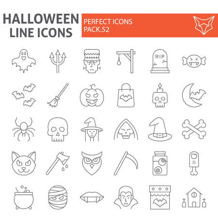Halloween thin line icon set, horror symbols collection, vector sketches,  illustrations, creepy holiday signs linear pictograms package isolated on white background. 写真素材 - 128745229