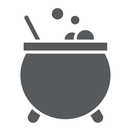 Witches cauldron glyph icon, magic and pot, potion sign, vector graphics, a solid pattern on a white background. Standard-Bild - 128745265