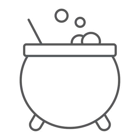 Witches cauldron thin line icon, magic and pot, potion sign, vector graphics, a linear pattern on a white background. 写真素材 - 128745245
