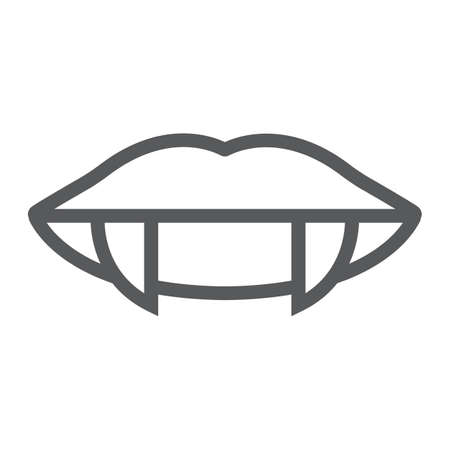 Vampire teeth line icon, female and mouth, lips sign, vector graphics, a linear pattern on a white background. Standard-Bild - 128745261