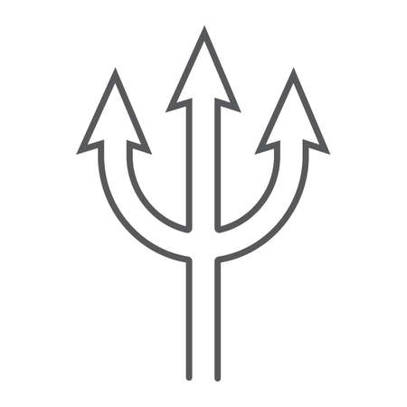 Trident thin line icon, spear and devil, pitchfork sign, vector graphics, a linear pattern on a white background.