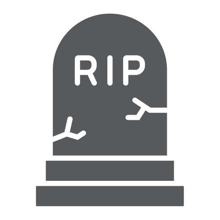 Grave glyph icon, gravestone and funeral, tombstone sign, vector graphics, a solid pattern on a white background.