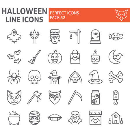 Halloween line icon set, horror symbols collection, vector sketches,  illustrations, creepy holiday signs linear pictograms package isolated on white background. 写真素材 - 128745268