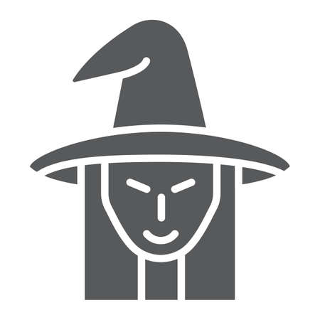 Witch glyph icon, witchcraft and halloween, witch face sign, vector graphics, a solid pattern on a white background. Standard-Bild - 128745274