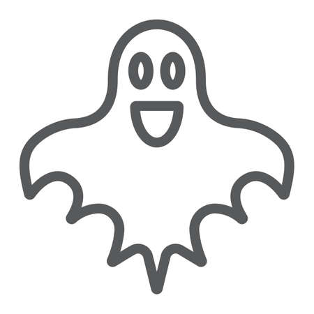 Ghost line icon, halloween and horror, spirit sign, vector graphics, a linear pattern on a white background.